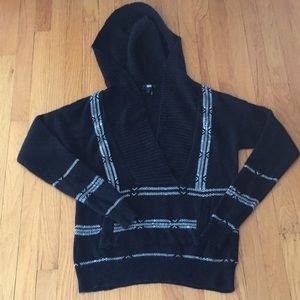 Sweaters - Paige black and off white hooded sweater S